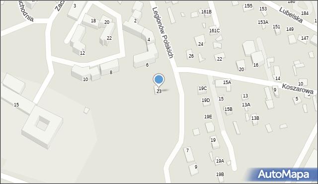 Chełm, Koszarowa, 23, mapa Chełma