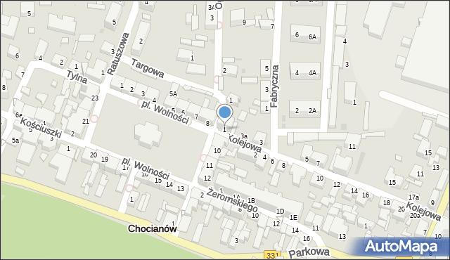 Chocianów, Kolejowa, 1, mapa Chocianów
