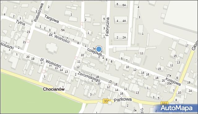Chocianów, Kolejowa, 2, mapa Chocianów