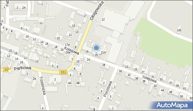 Chocianów, Kolejowa, 21, mapa Chocianów