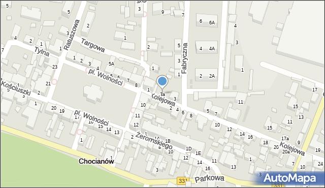 Chocianów, Kolejowa, 3a, mapa Chocianów