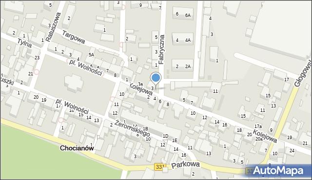 Chocianów, Kolejowa, 3b, mapa Chocianów