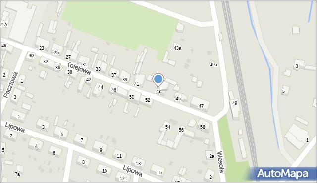Chocianów, Kolejowa, 43, mapa Chocianów