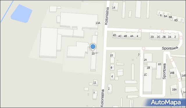 Chocianów, Kolonialna, 13, mapa Chocianów
