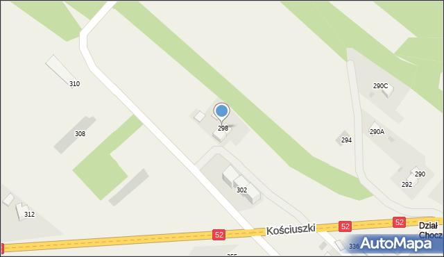 Chocznia, Kościuszki Tadeusza, gen., 298, mapa Chocznia