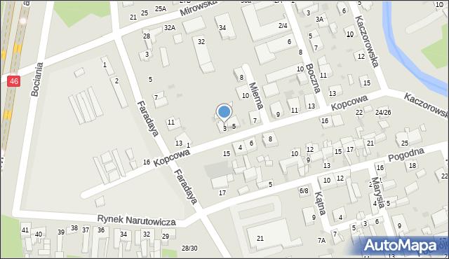 Częstochowa, Kopcowa, 3, mapa Częstochowy