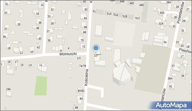 Częstochowa, Kościelna, 127, mapa Częstochowy