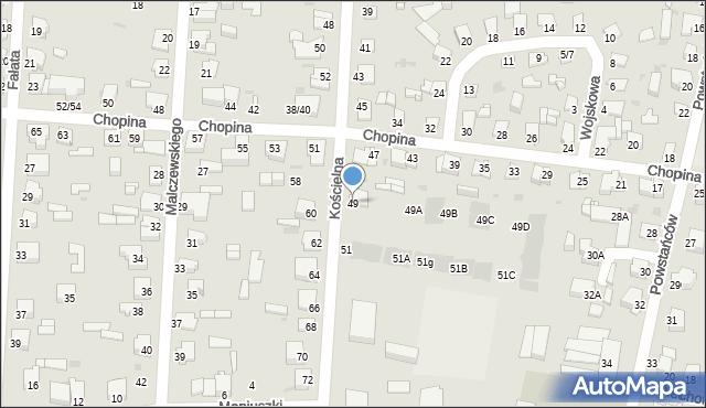 Częstochowa, Kościelna, 49, mapa Częstochowy