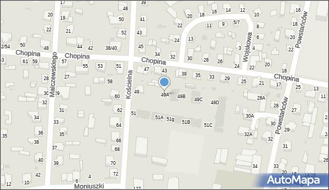 Częstochowa, Kościelna, 49A, mapa Częstochowy