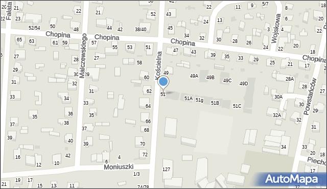 Częstochowa, Kościelna, 51, mapa Częstochowy