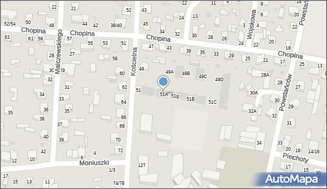 Częstochowa, Kościelna, 51A, mapa Częstochowy