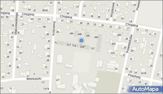 Częstochowa, Kościelna, 51B, mapa Częstochowy