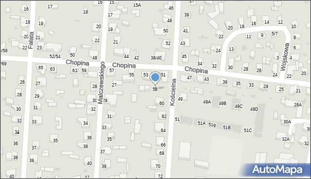 Częstochowa, Kościelna, 58, mapa Częstochowy