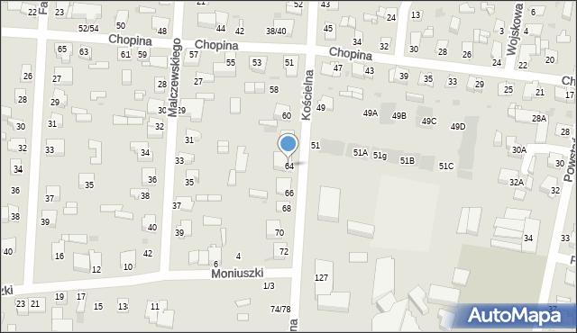 Częstochowa, Kościelna, 64, mapa Częstochowy