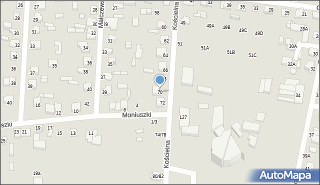 Częstochowa, Kościelna, 70, mapa Częstochowy