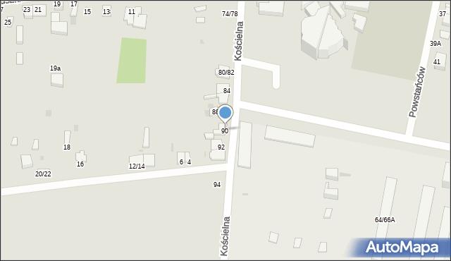Częstochowa, Kościelna, 90, mapa Częstochowy
