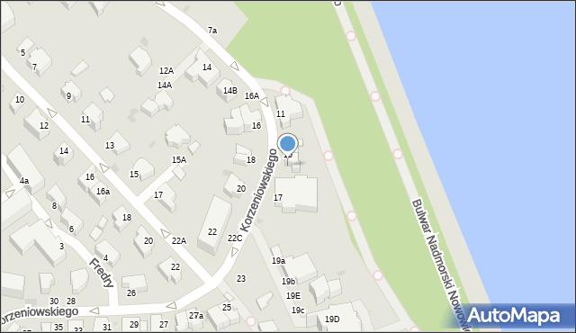 Gdynia, Korzeniowskiego Józefa, 15a, mapa Gdyni