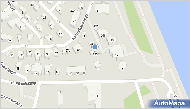Gdynia, Korzeniowskiego Józefa, 23B, mapa Gdyni
