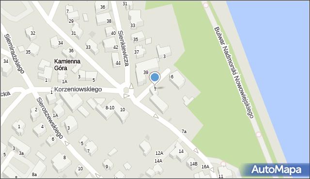 Gdynia, Korzeniowskiego Józefa, 7, mapa Gdyni