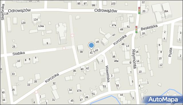 Gliwice, Korczoka Antoniego, ks. dr., 41, mapa Gliwic