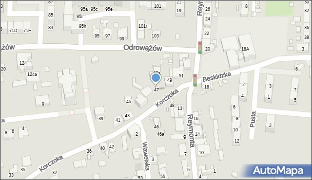 Gliwice, Korczoka Antoniego, ks. dr., 47, mapa Gliwic