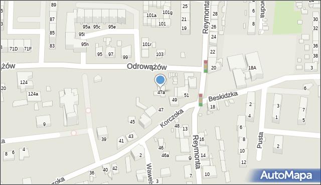 Gliwice, Korczoka Antoniego, ks. dr., 47a, mapa Gliwic