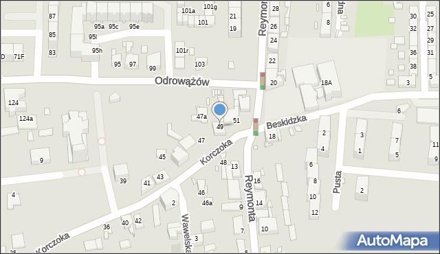 Gliwice, Korczoka Antoniego, ks. dr., 49, mapa Gliwic