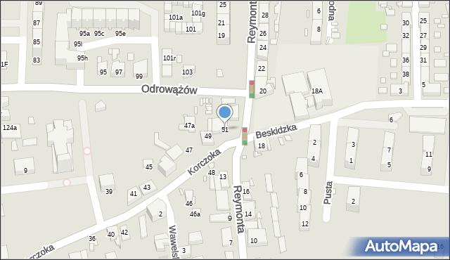 Gliwice, Korczoka Antoniego, ks. dr., 51, mapa Gliwic