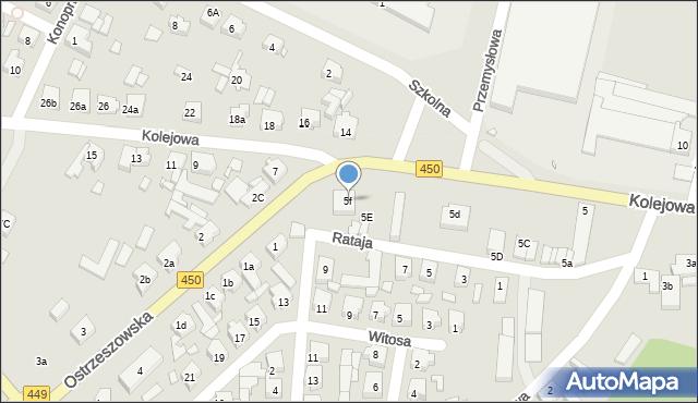 Grabów nad Prosną, Kolejowa, 5f, mapa Grabów nad Prosną