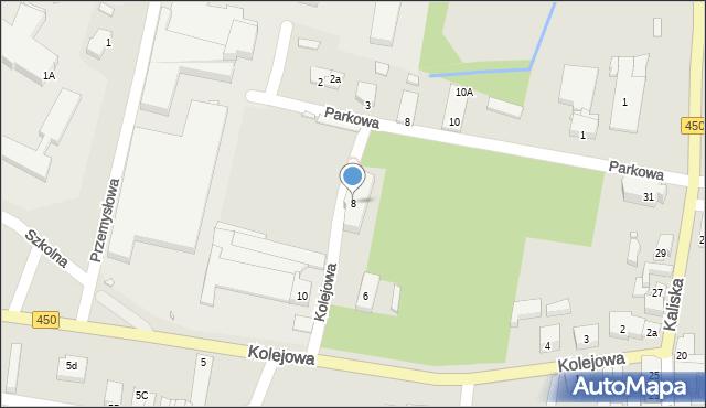 Grabów nad Prosną, Kolejowa, 8, mapa Grabów nad Prosną