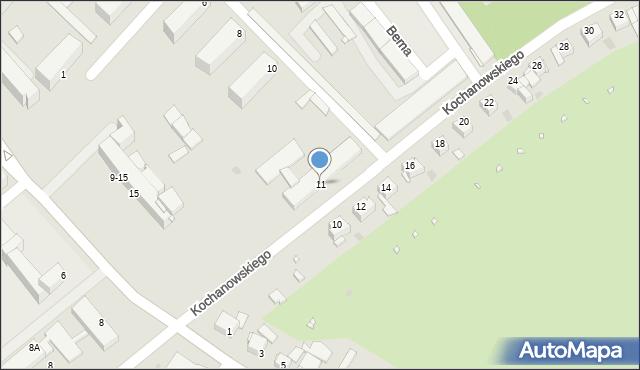 Grudziądz, Kochanowskiego Jana, 11, mapa Grudziądza