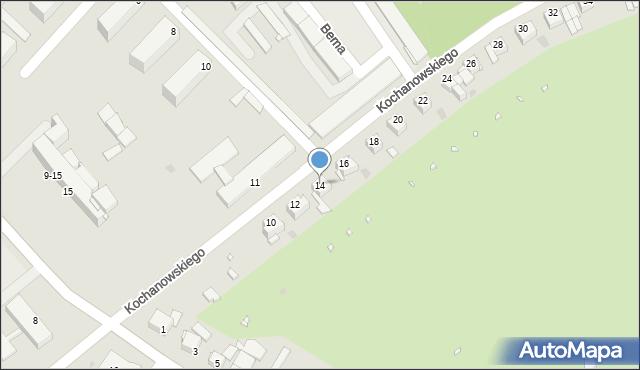 Grudziądz, Kochanowskiego Jana, 14, mapa Grudziądza