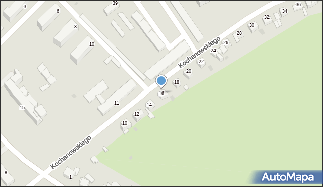 Grudziądz, Kochanowskiego Jana, 16, mapa Grudziądza