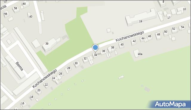 Grudziądz, Kochanowskiego Jana, 34, mapa Grudziądza