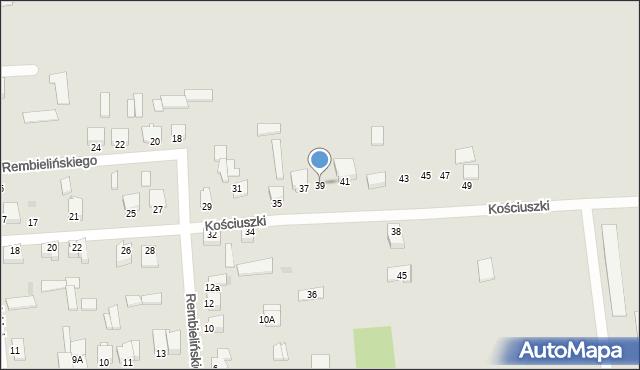Jedwabne, Kościuszki Tadeusza, gen., 39, mapa Jedwabne
