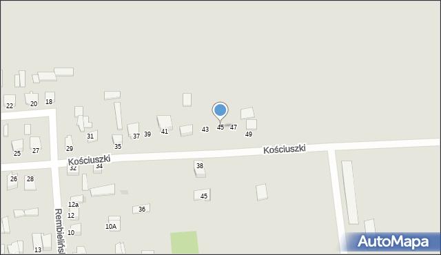 Jedwabne, Kościuszki Tadeusza, gen., 45, mapa Jedwabne