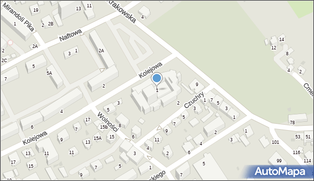 Krosno, Kolejowa, 1, mapa Krosna