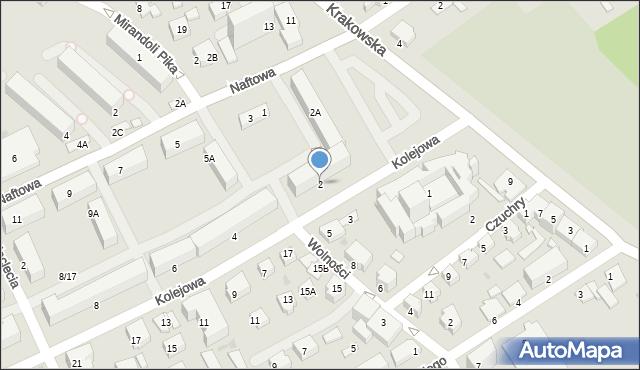 Krosno, Kolejowa, 2, mapa Krosna