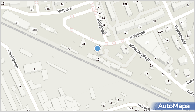 Krosno, Kolejowa, 29c, mapa Krosna