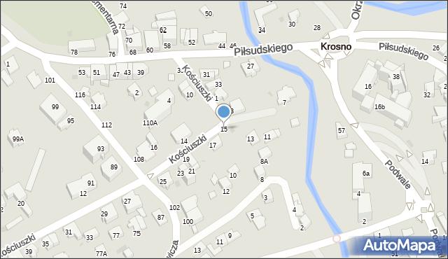 Krosno, Kościuszki Tadeusza, gen., 15, mapa Krosna