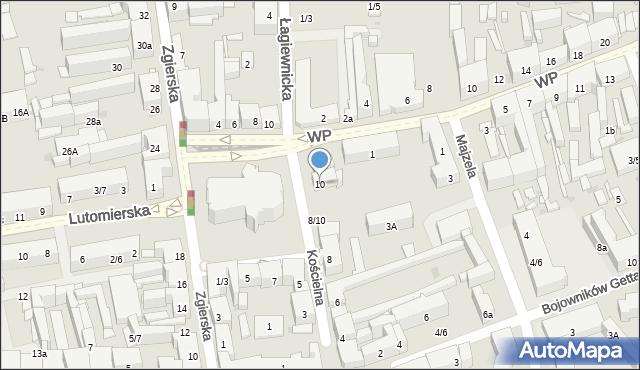 Łódź, Kościelna, 10, mapa Łodzi