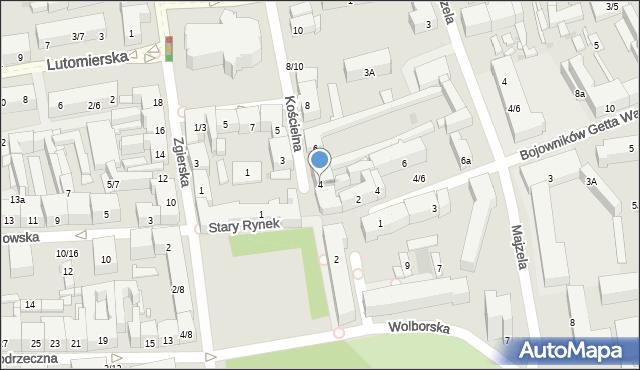 Łódź, Kościelna, 4, mapa Łodzi