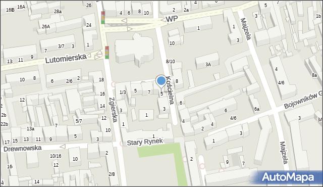 Łódź, Kościelna, 5, mapa Łodzi