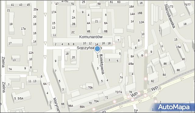 Łódź, Kolektywna, 1, mapa Łodzi