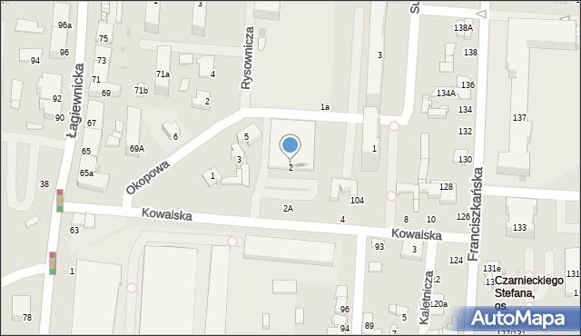 Łódź, Kowalska, 2, mapa Łodzi