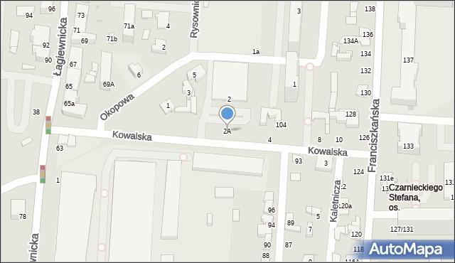 Łódź, Kowalska, 2A, mapa Łodzi
