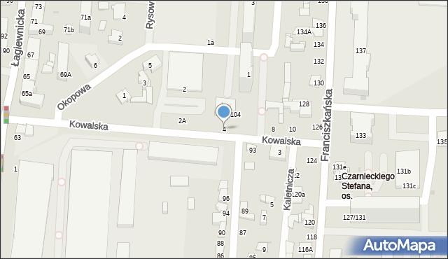 Łódź, Kowalska, 4, mapa Łodzi