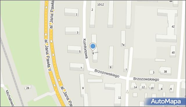 Łódź, Komfortowa, 4, mapa Łodzi
