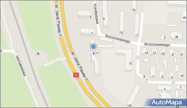 Łódź, Komfortowa, 9, mapa Łodzi