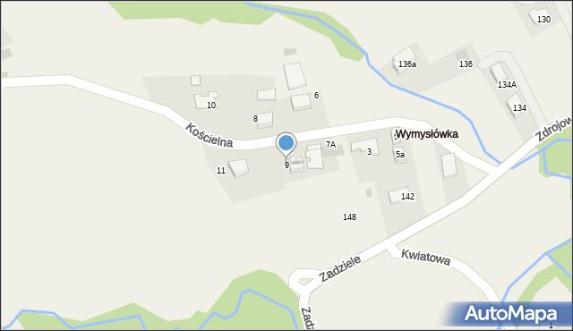 Lusina, Kościelna, 9, mapa Lusina